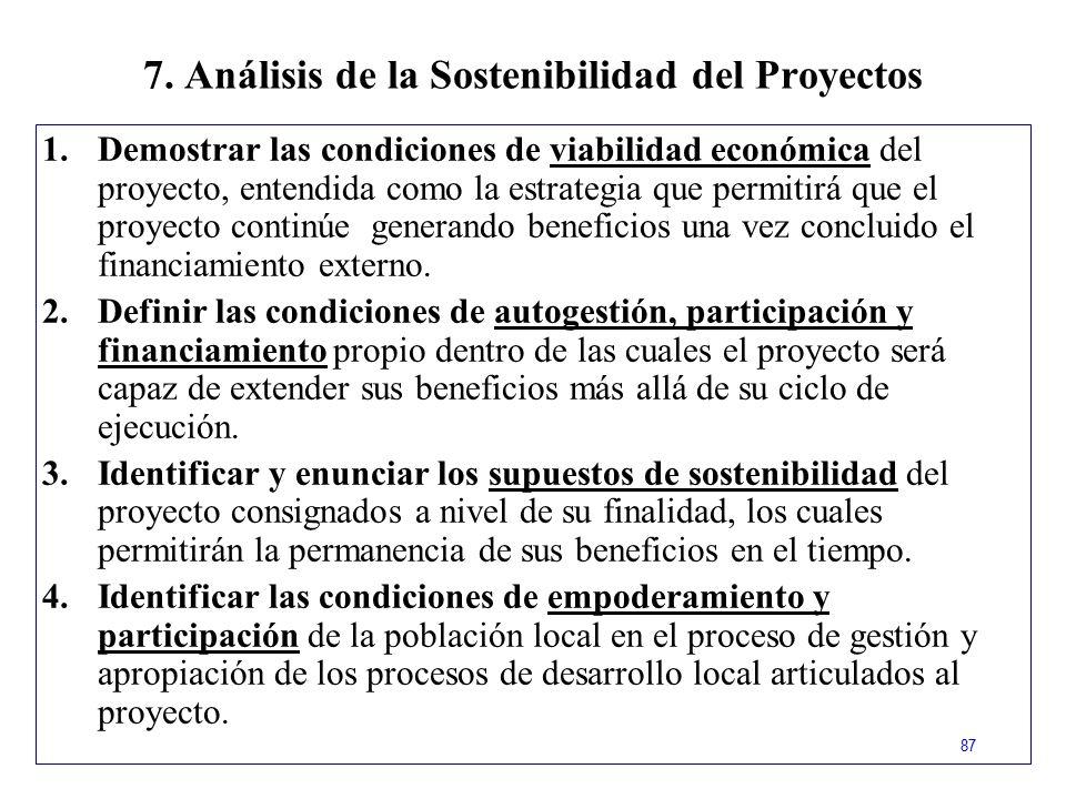 7. Análisis de la Sostenibilidad del Proyectos