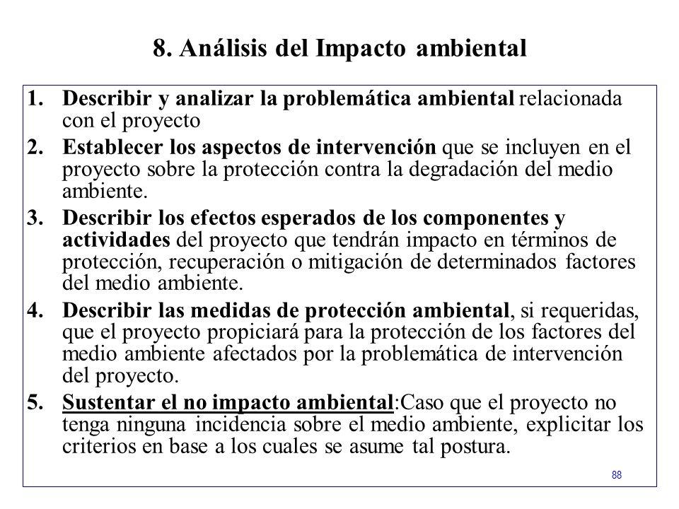 8. Análisis del Impacto ambiental