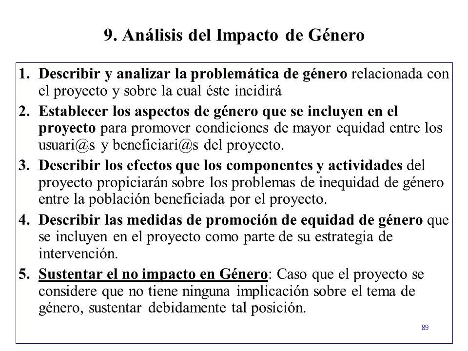 9. Análisis del Impacto de Género