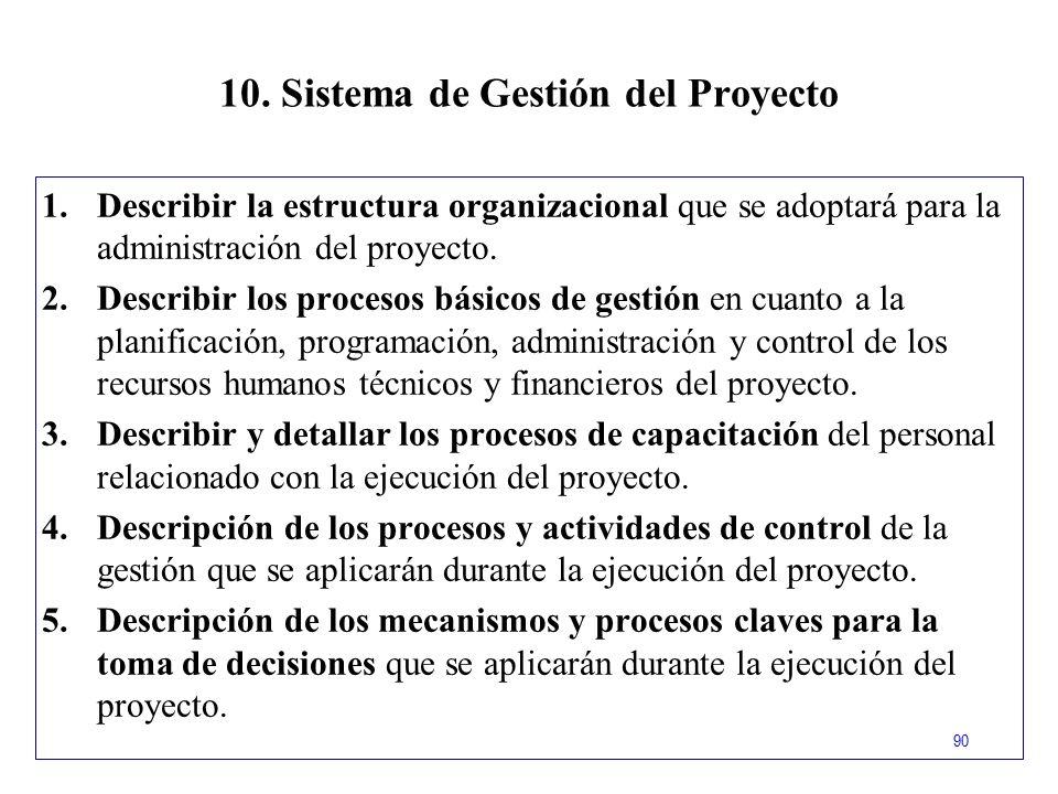 10. Sistema de Gestión del Proyecto