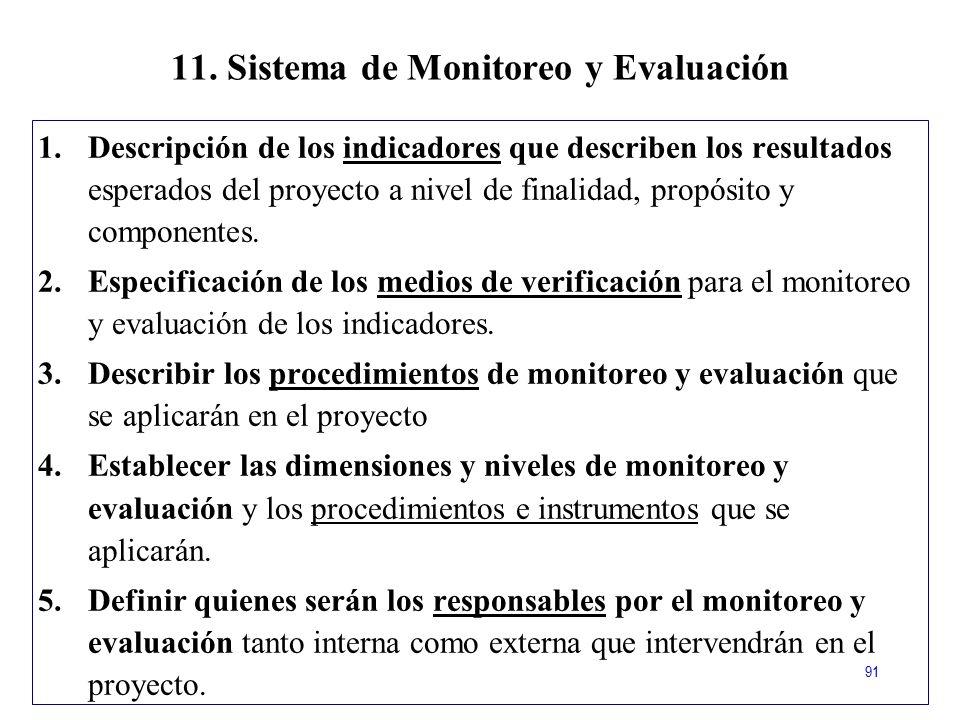 11. Sistema de Monitoreo y Evaluación