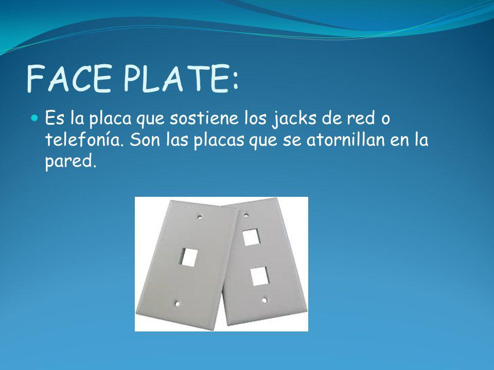 FACE PLATE: Es la placa que sostiene los jacks de red o telefonía.