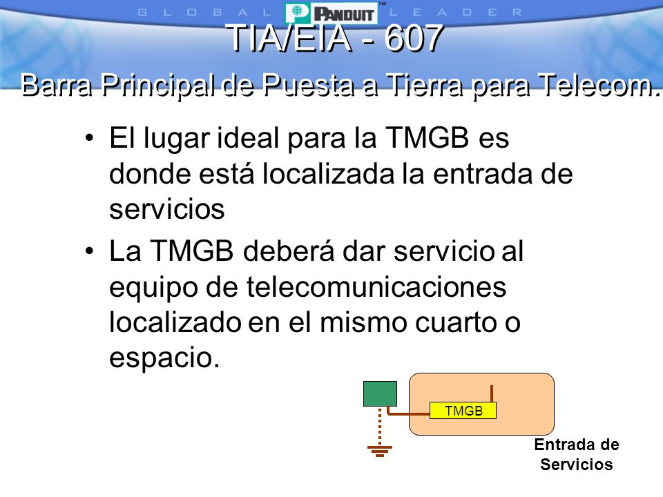 TIA/EIA - 607 Barra Principal de Puesta a Tierra para Telecom.