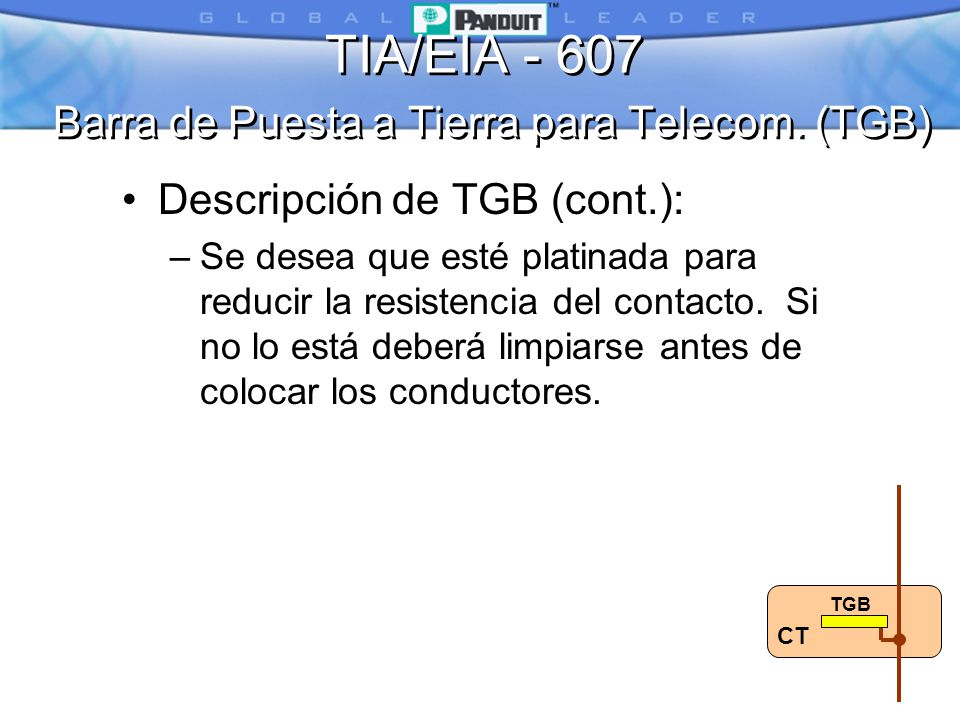 TIA/EIA - 607 Barra de Puesta a Tierra para Telecom. (TGB)