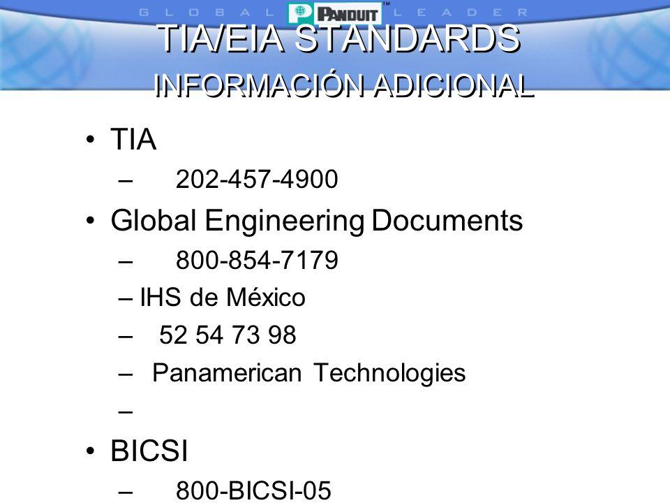 TIA/EIA STANDARDS INFORMACIÓN ADICIONAL