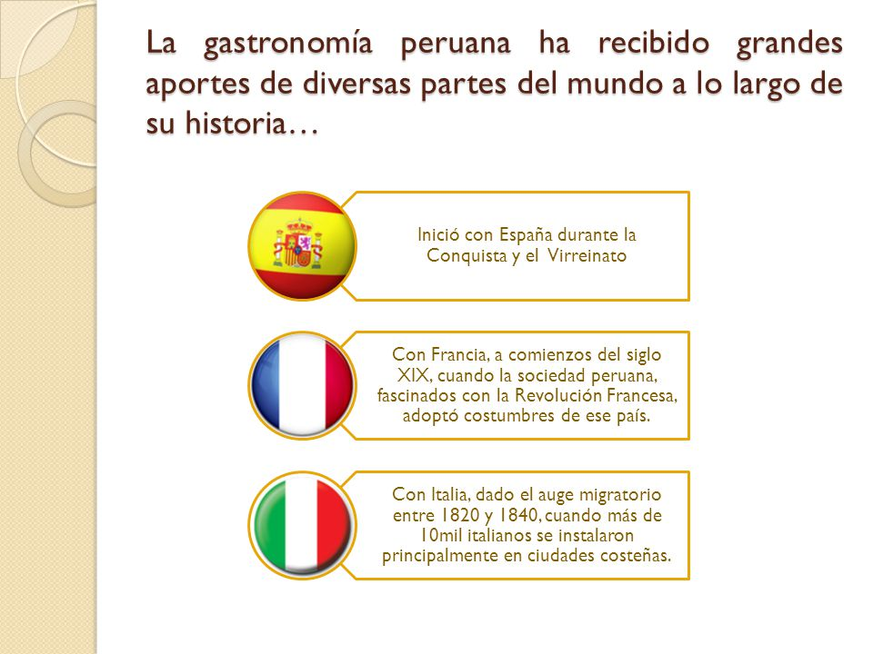 Influencia europea en la gastronom a peruana ppt video for Cultura francesa comida