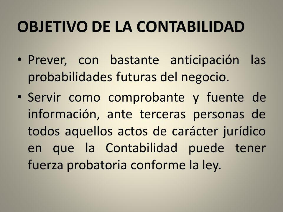 OBJETIVO DE LA CONTABILIDAD