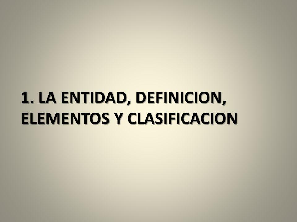 1. LA ENTIDAD, DEFINICION, ELEMENTOS Y CLASIFICACION