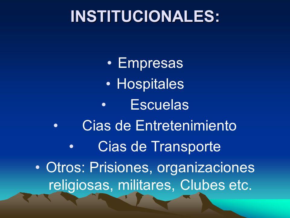 INSTITUCIONALES: Empresas Hospitales Escuelas Cias de Entretenimiento