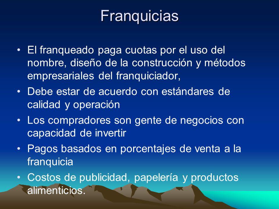 Franquicias El franqueado paga cuotas por el uso del nombre, diseño de la construcción y métodos empresariales del franquiciador,