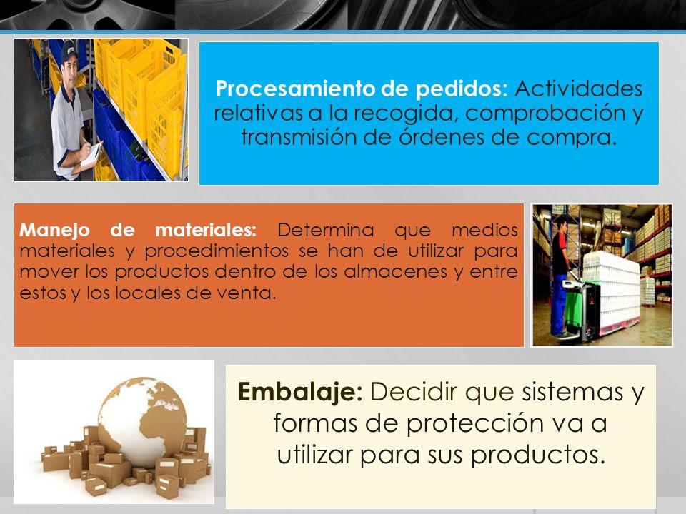 Procesamiento de pedidos: Actividades relativas a la recogida, comprobación y transmisión de órdenes de compra.