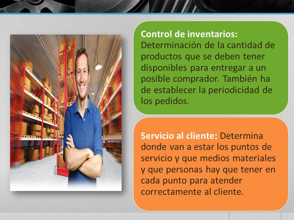 Control de inventarios: Determinación de la cantidad de productos que se deben tener disponibles para entregar a un posible comprador. También ha de establecer la periodicidad de los pedidos.