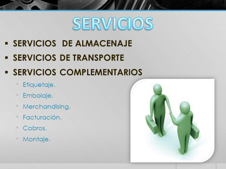 SERVICIOS SERVICIOS DE ALMACENAJE SERVICIOS DE TRANSPORTE