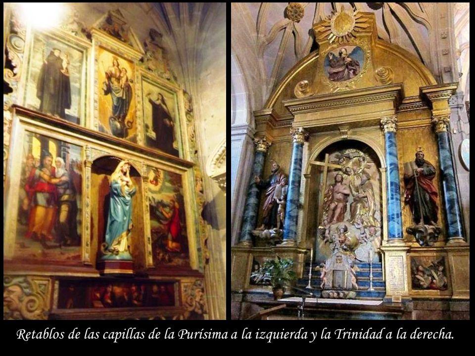 Retablos de las capillas de la Purísima a la izquierda y la Trinidad a la derecha.