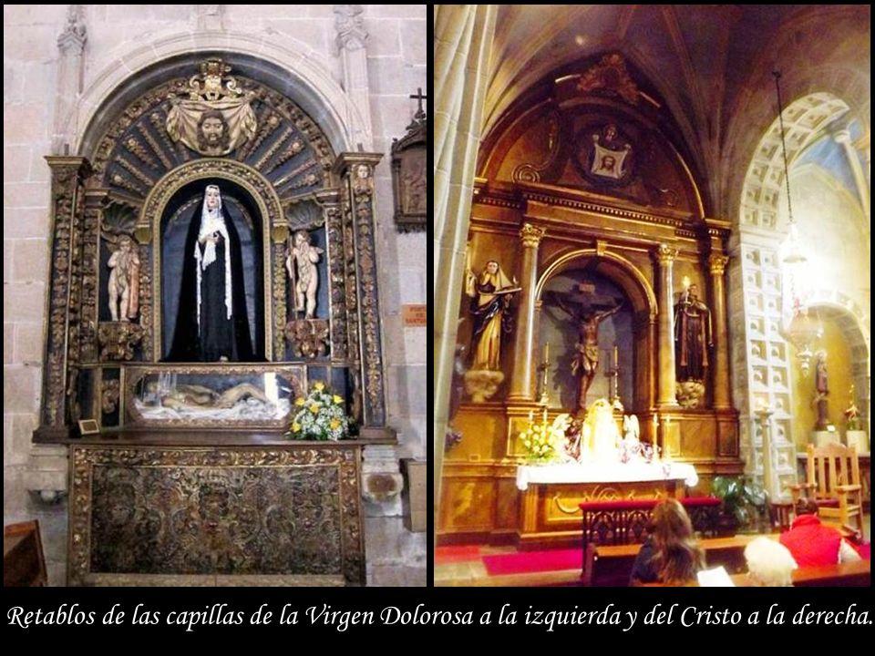 Retablos de las capillas de la Virgen Dolorosa a la izquierda y del Cristo a la derecha.