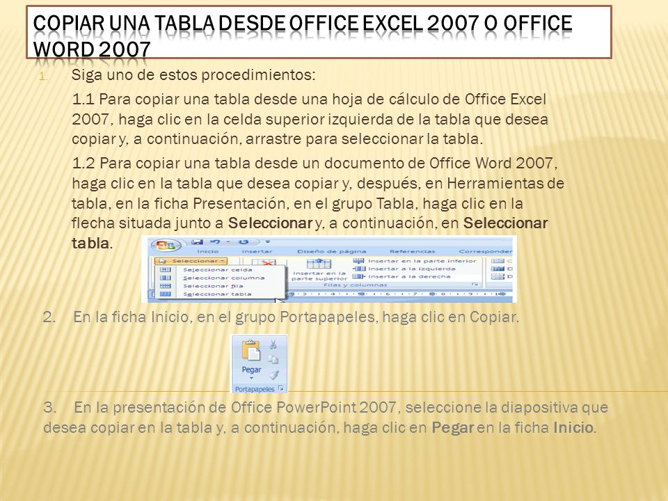 Copiar una tabla desde Office Excel 2007 o Office Word 2007