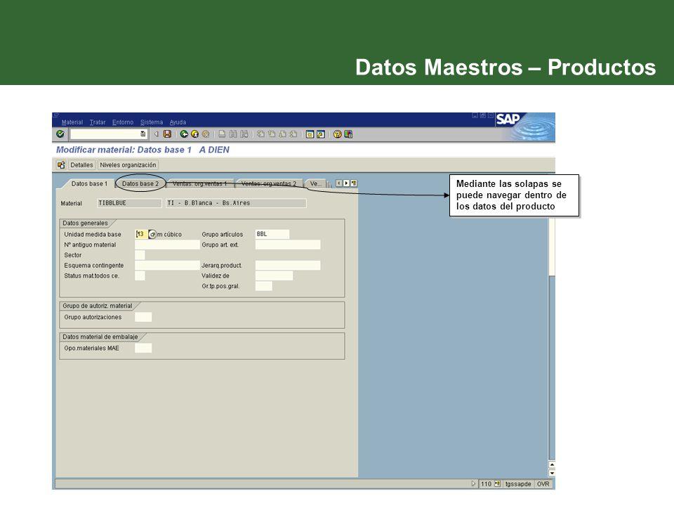 Datos Maestros – Productos