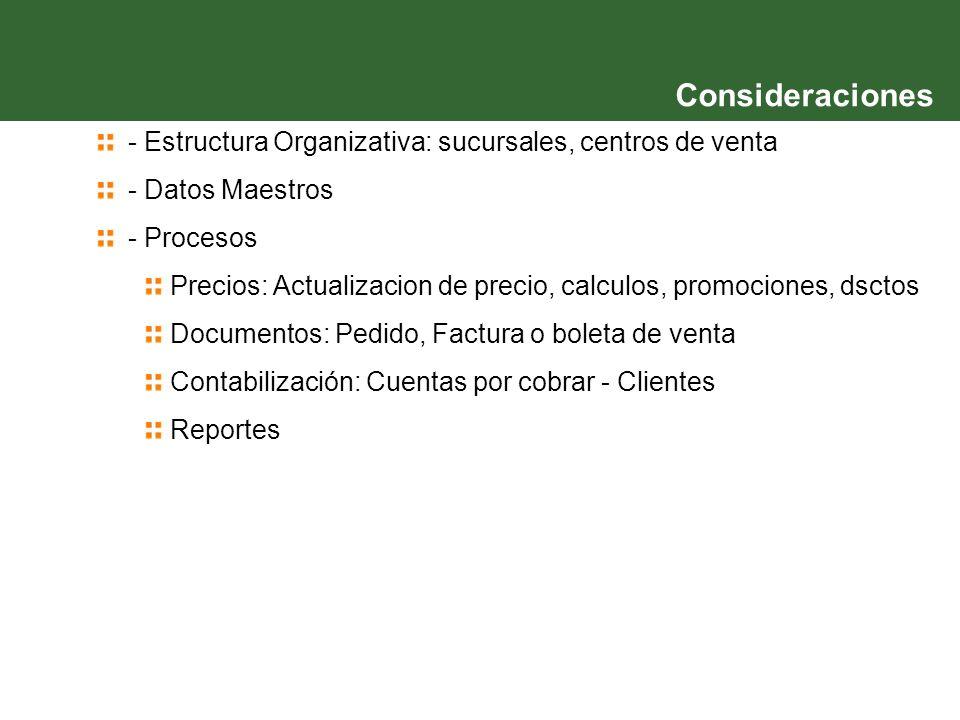Consideraciones - Estructura Organizativa: sucursales, centros de venta. - Datos Maestros. - Procesos.