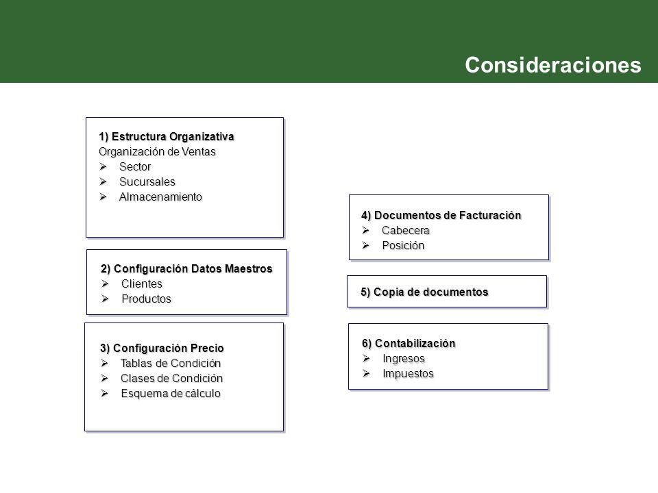 Consideraciones 1) Estructura Organizativa Organización de Ventas