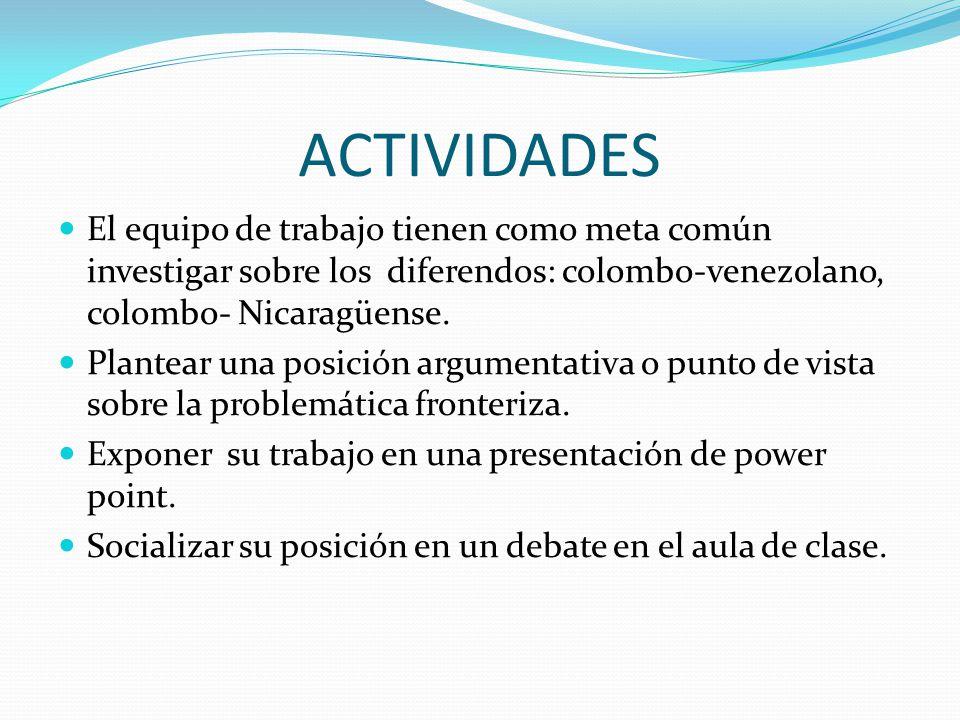 ACTIVIDADES El equipo de trabajo tienen como meta común investigar sobre los diferendos: colombo-venezolano, colombo- Nicaragüense.