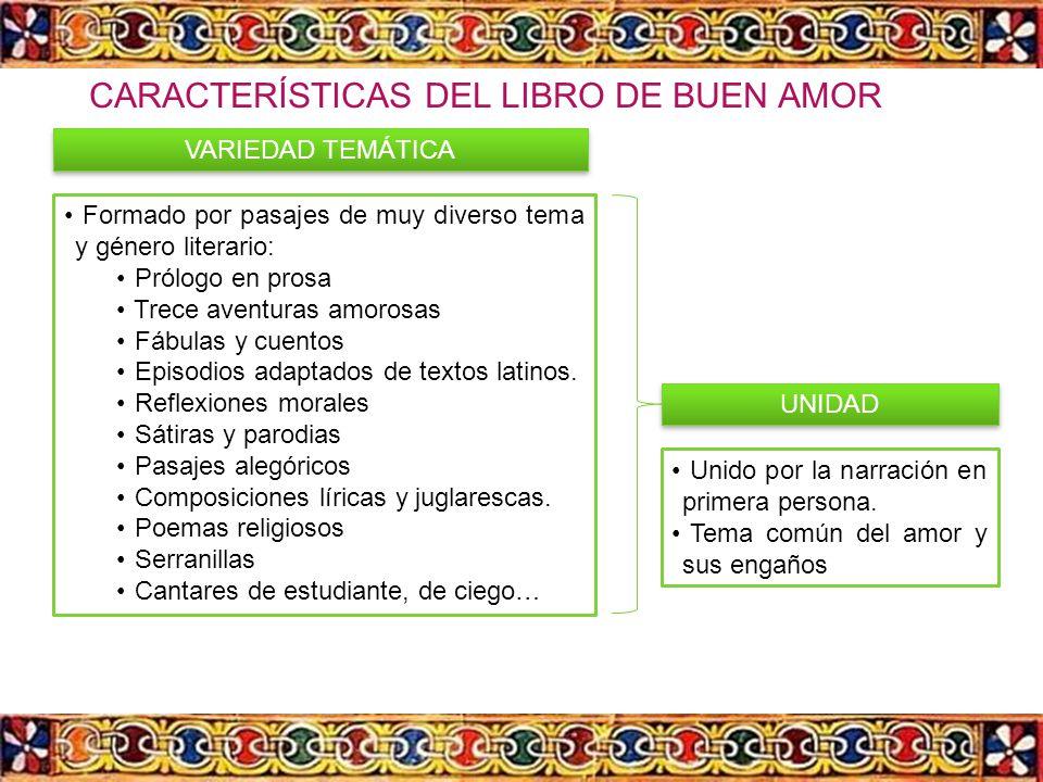 CARACTERÍSTICAS DEL LIBRO DE BUEN AMOR
