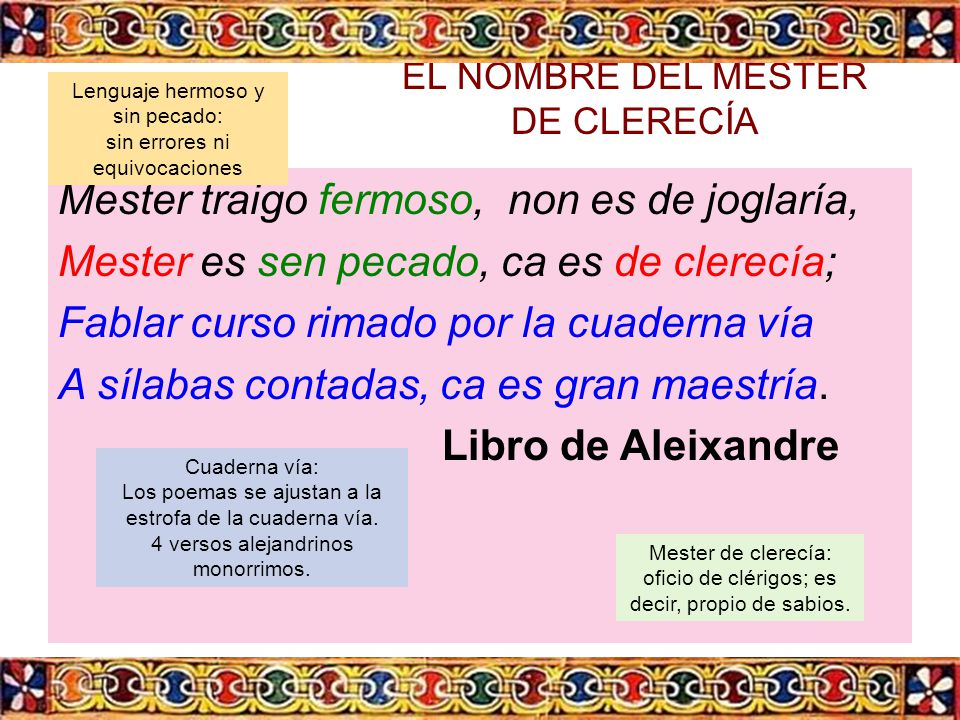 EL NOMBRE DEL MESTER DE CLERECÍA