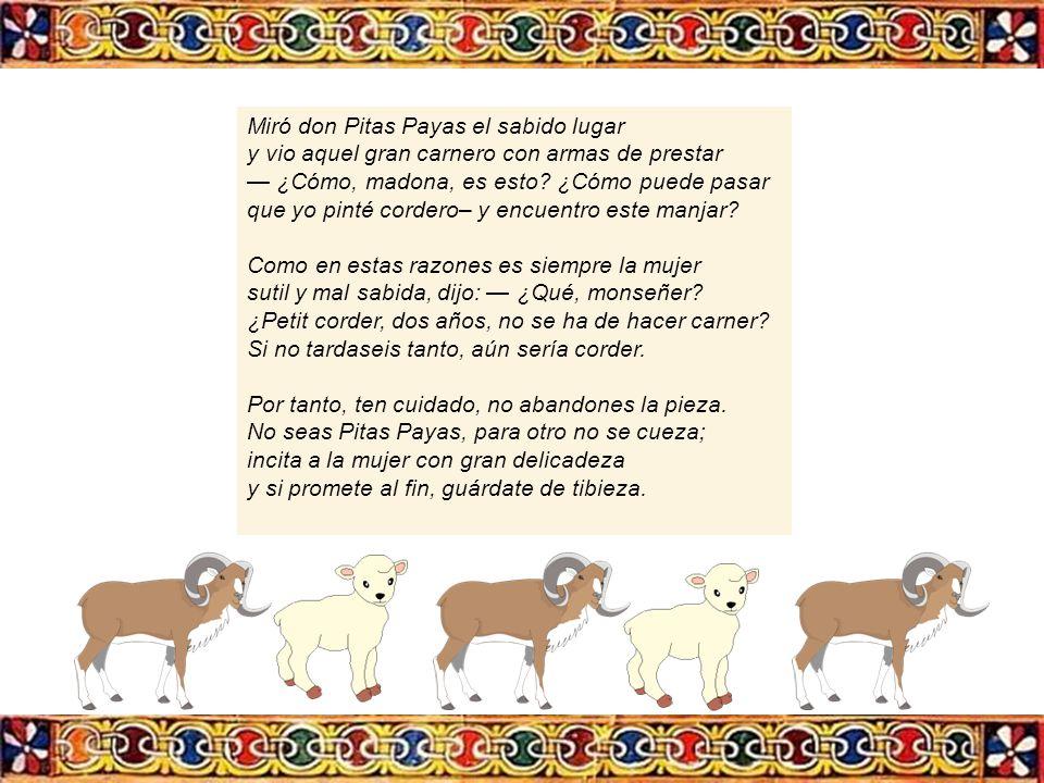 Miró don Pitas Payas el sabido lugar. y vio aquel gran carnero con armas de prestar. — ¿Cómo, madona, es esto ¿Cómo puede pasar.