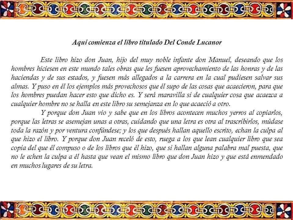Aquí comienza el libro titulado Del Conde Lucanor