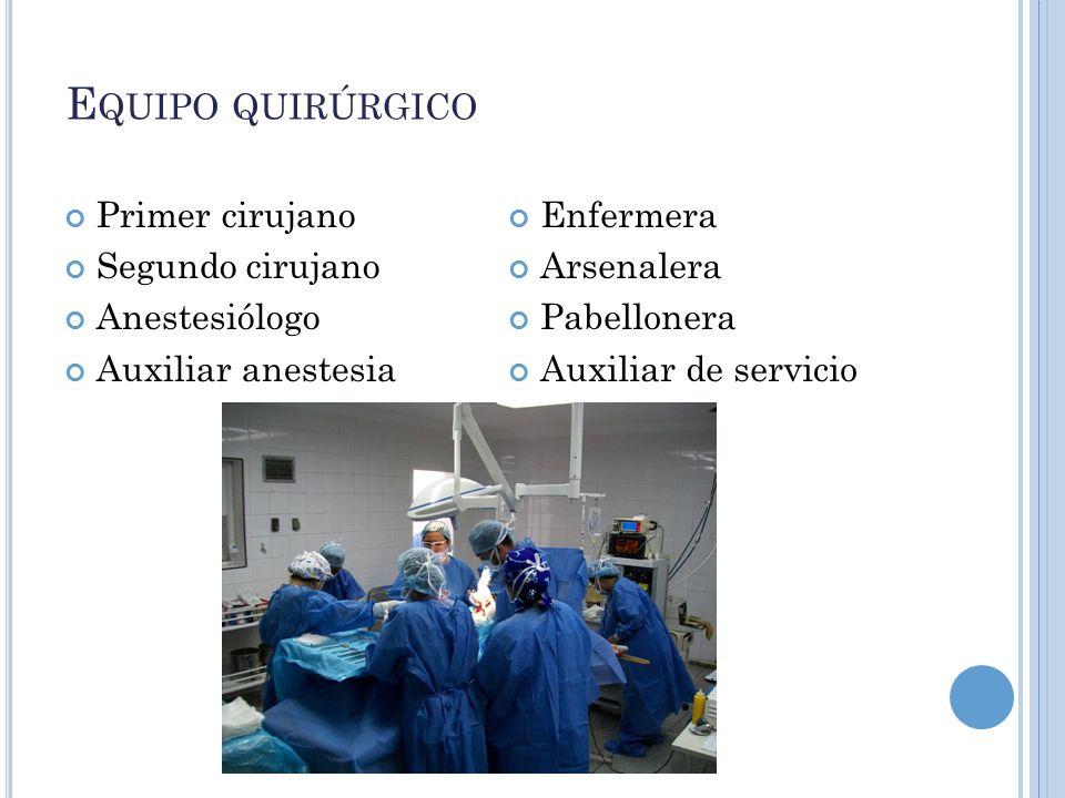 Equipo quirúrgico Primer cirujano Segundo cirujano Anestesiólogo