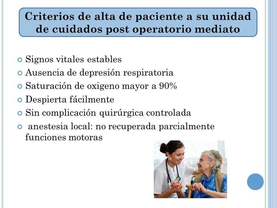 Criterios de alta de paciente a su unidad de cuidados post operatorio mediato