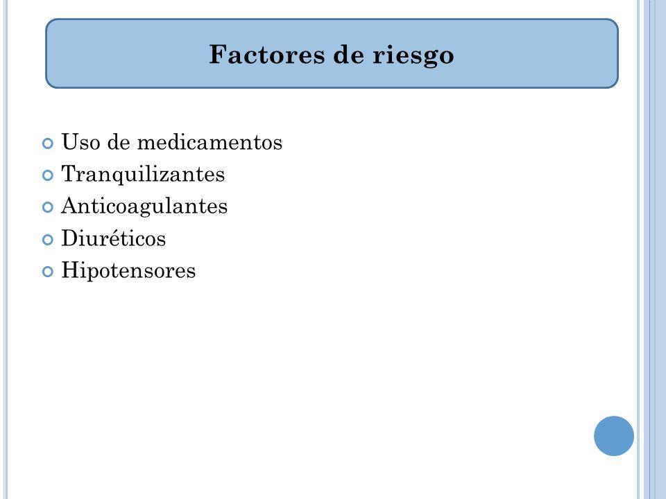 Factores de riesgo Uso de medicamentos Tranquilizantes Anticoagulantes