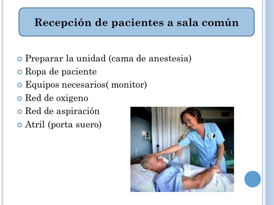 Recepción de pacientes a sala común