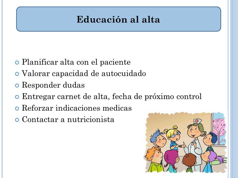 Educación al alta Planificar alta con el paciente