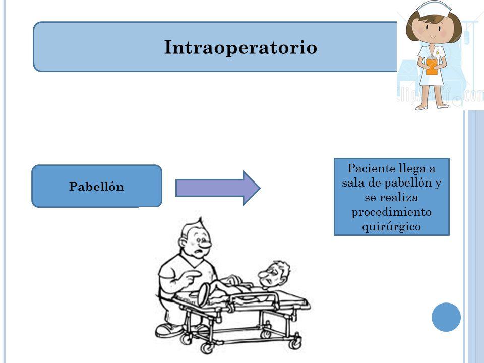 Intraoperatorio Paciente llega a sala de pabellón y se realiza procedimiento quirúrgico Pabellón