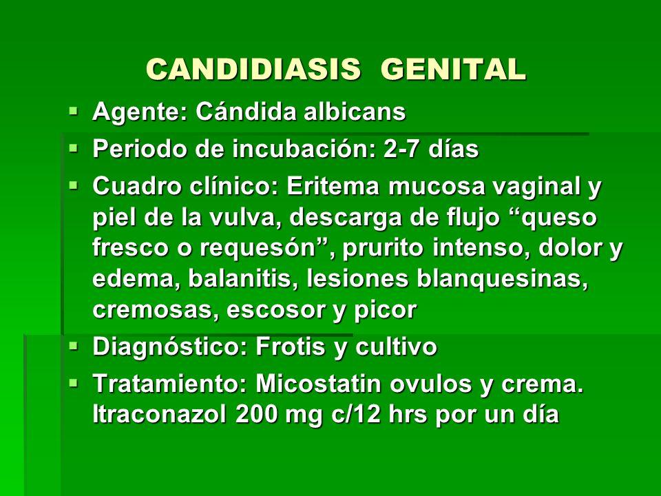 CANDIDIASIS GENITAL Agente: Cándida albicans
