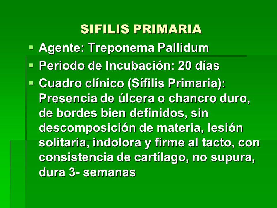 SIFILIS PRIMARIA Agente: Treponema Pallidum. Periodo de Incubación: 20 días.