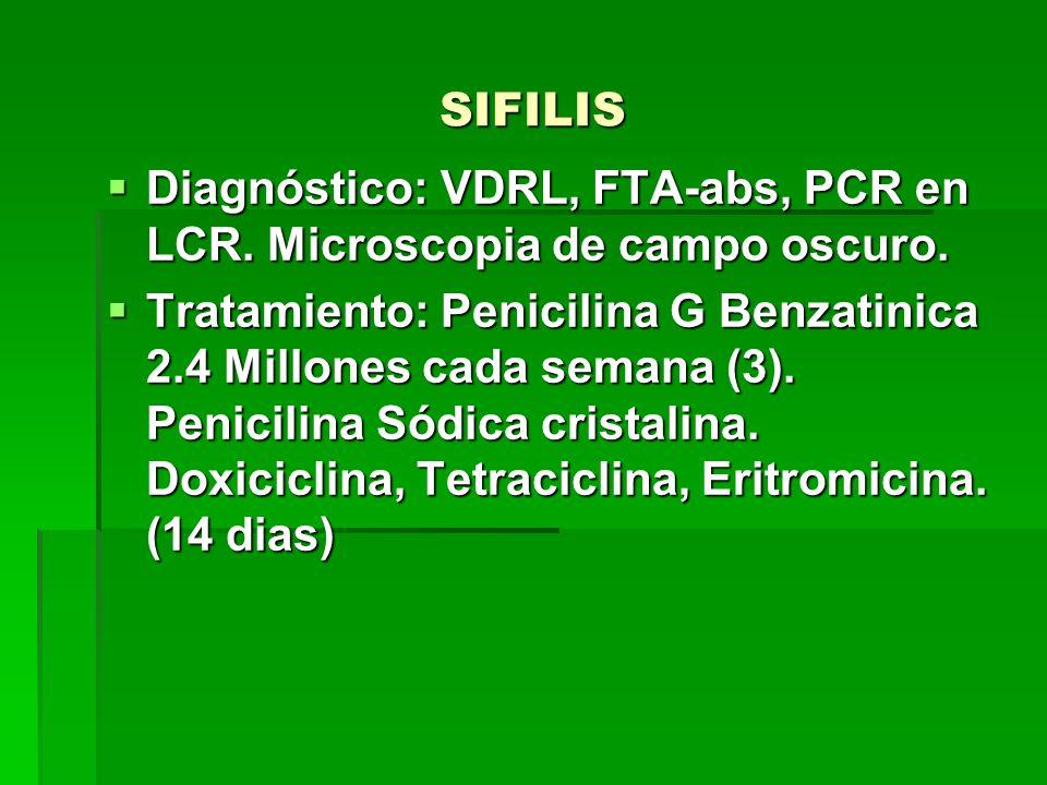 SIFILIS Diagnóstico: VDRL, FTA-abs, PCR en LCR. Microscopia de campo oscuro.