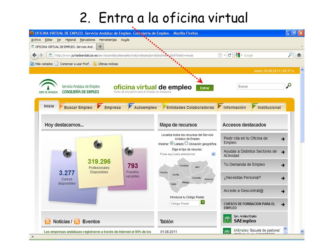 Servicio andaluz de empleo ppt descargar for Oficina virtual sistema red