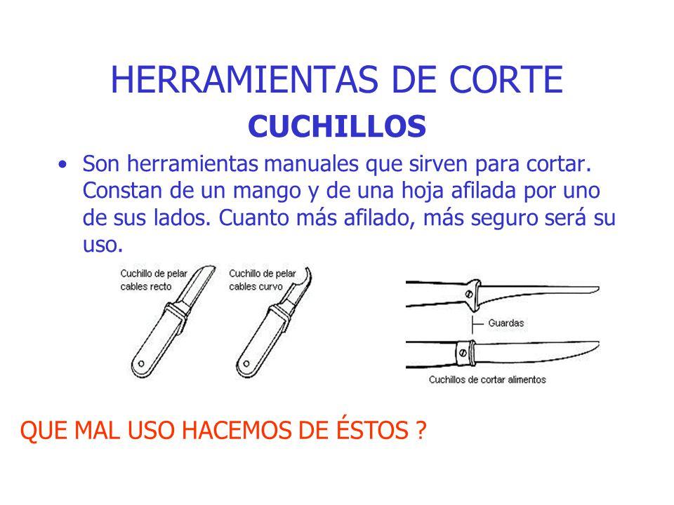 HERRAMIENTAS DE CORTE CUCHILLOS QUE MAL USO HACEMOS DE ÉSTOS