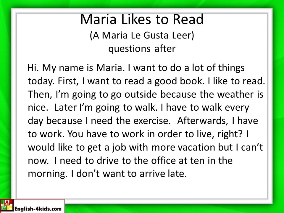 Maria Likes to Read (A Maria Le Gusta Leer) questions after