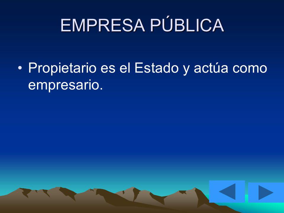 EMPRESA PÚBLICA Propietario es el Estado y actúa como empresario.