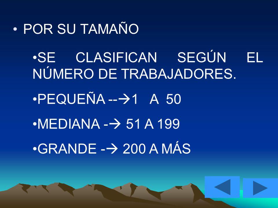 POR SU TAMAÑO SE CLASIFICAN SEGÚN EL NÚMERO DE TRABAJADORES. PEQUEÑA --1 A 50. MEDIANA - 51 A 199.