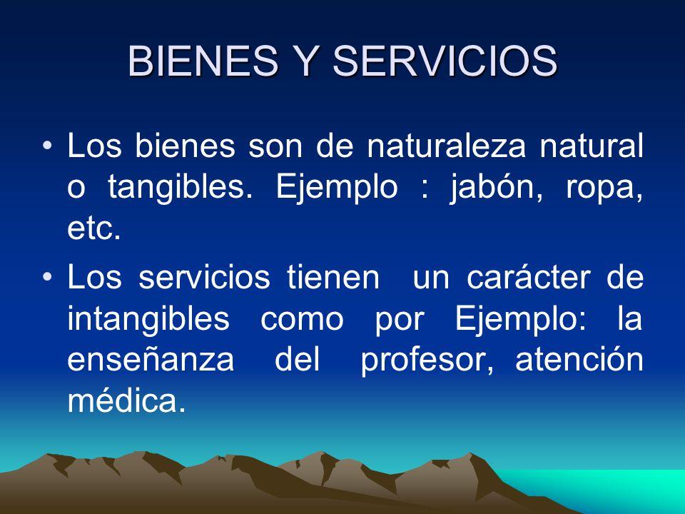 BIENES Y SERVICIOS Los bienes son de naturaleza natural o tangibles. Ejemplo : jabón, ropa, etc.