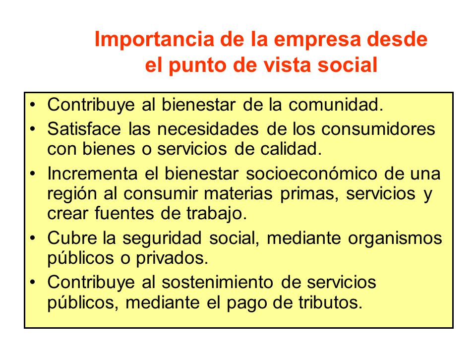 Importancia de la empresa desde el punto de vista social