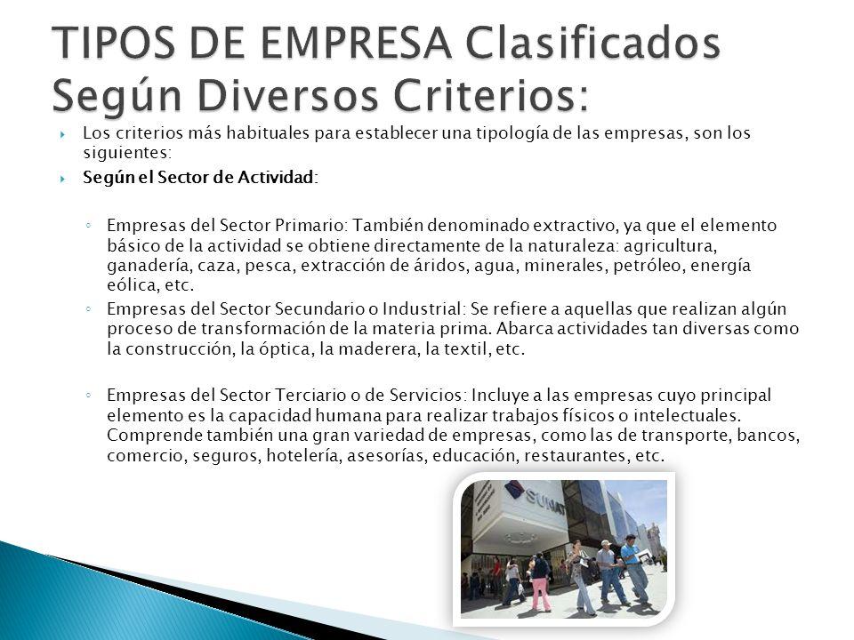 TIPOS DE EMPRESA Clasificados Según Diversos Criterios: