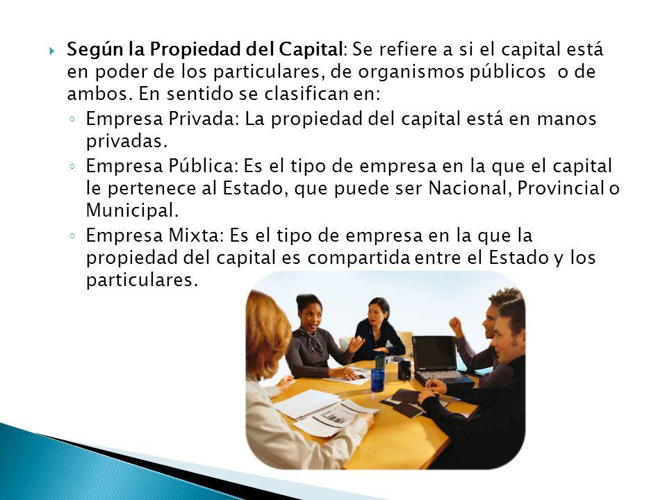 Según la Propiedad del Capital: Se refiere a si el capital está en poder de los particulares, de organismos públicos o de ambos. En sentido se clasifican en: