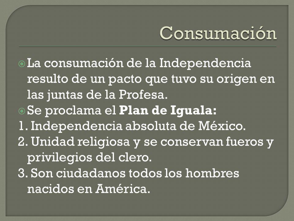 Consumación La consumación de la Independencia resulto de un pacto que tuvo su origen en las juntas de la Profesa.
