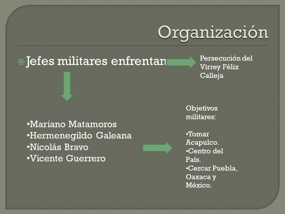 Organización Jefes militares enfrentan Mariano Matamoros