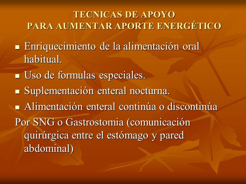 TECNICAS DE APOYO PARA AUMENTAR APORTE ENERGÉTICO