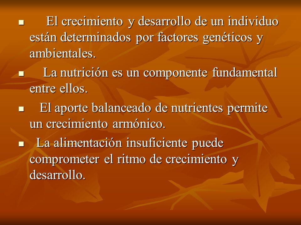 El crecimiento y desarrollo de un individuo están determinados por factores genéticos y ambientales.